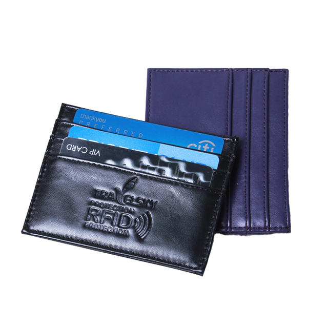 RFID card holder imitation leather take in 3 credit cards and coin change ultrathin portable whosesale  50 pcs/set