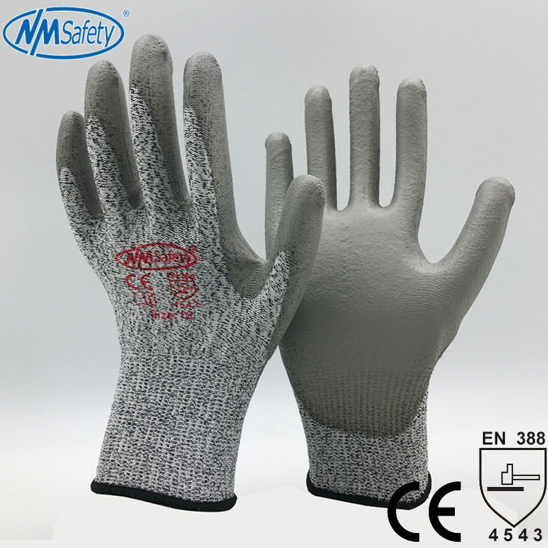 NMSafety New Knitted Liner Dipping PU Palm Cut Resistant Protective Hand Working Safety Gloves