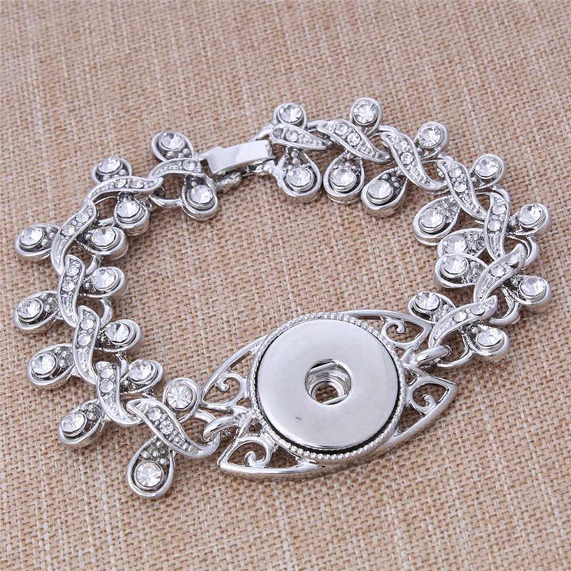 Nowy 18mm przystawki przycisk biżuteryjny różowe złoto srebro bransoletka Snap bransoletki kwiat kryształ przystawki przycisk bransoletka dla kobiet mężczyzn biżuteria