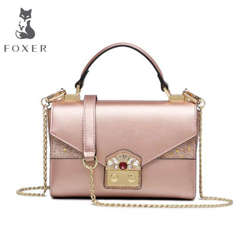 FOXER 2018 New women Leather bag designer fashion famous brand Cowhide small tote bag women leather Shoulder Crossbody Bags цена 2017