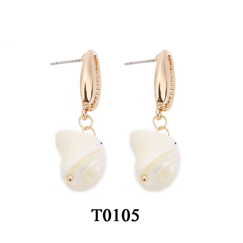 T0105A,天然淡水珍珠不规则耳钉,大约1.1X3.5cm,贝壳