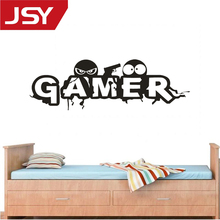 Jiangs Yu 1 PC Black Gamer Art PVC Wall Stickers Mural Home Room Decor Decals