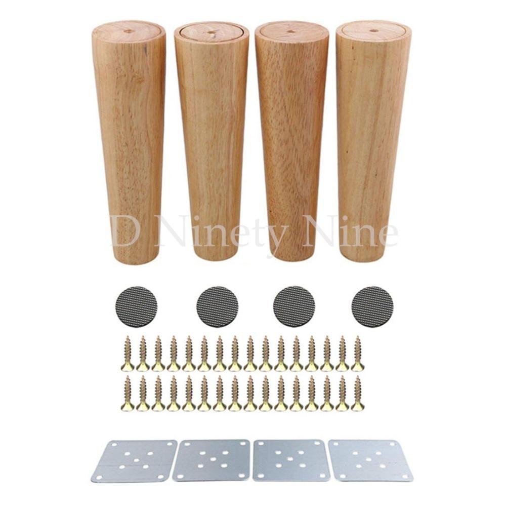Natural Oak Wood 8inch Sofa Legs 4PCS Oak Wood Color Tapered Reliable Wood Furniture Cabinets Legs Sofa Feet