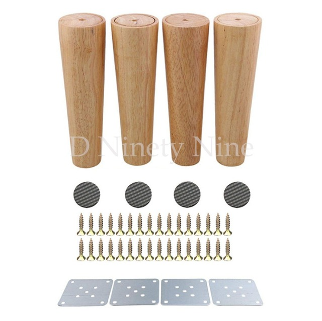 Natural Oak Wood 8inch Sofa Legs 4pcs Color Tapered Reliable Furniture Cabinets
