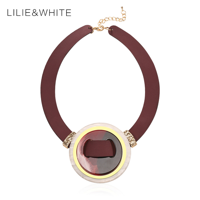 Fashion Necklaces For Women 2017 Choker Collars Necklace&Pendants Pu leather Acrylic Statement Accessories Jewelry