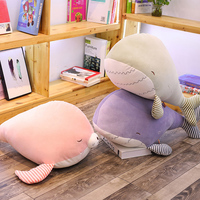 Cute Marine Animal Plush Toy Plush Whale Sea Lion Toy Soft Cartoon Pillow Stuffed Animal Doll Cushion Kid Sleeping Pillow Gift