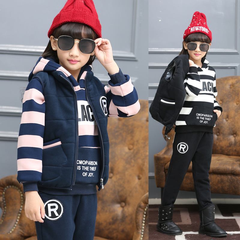 Kids Clothes Vest + Coat + Pants Set 3 Pcs Plus Velvet Thickening Boys Clothing Set Letters Floral Winter Girls Clothing 2016 new suit boys clothes brand winter sweater for kids 3 13 year with m word three piece set boys vest pants coat a 26145