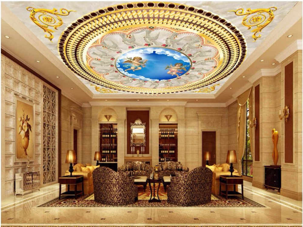 Custom photo 3d ceiling murals wall paper European luxury golden little angel painting 3d wall murals wallpaper for walls 3 d beibehang custom wall paper 3d white european carved blue sky white clouds ceiling ceiling murals background