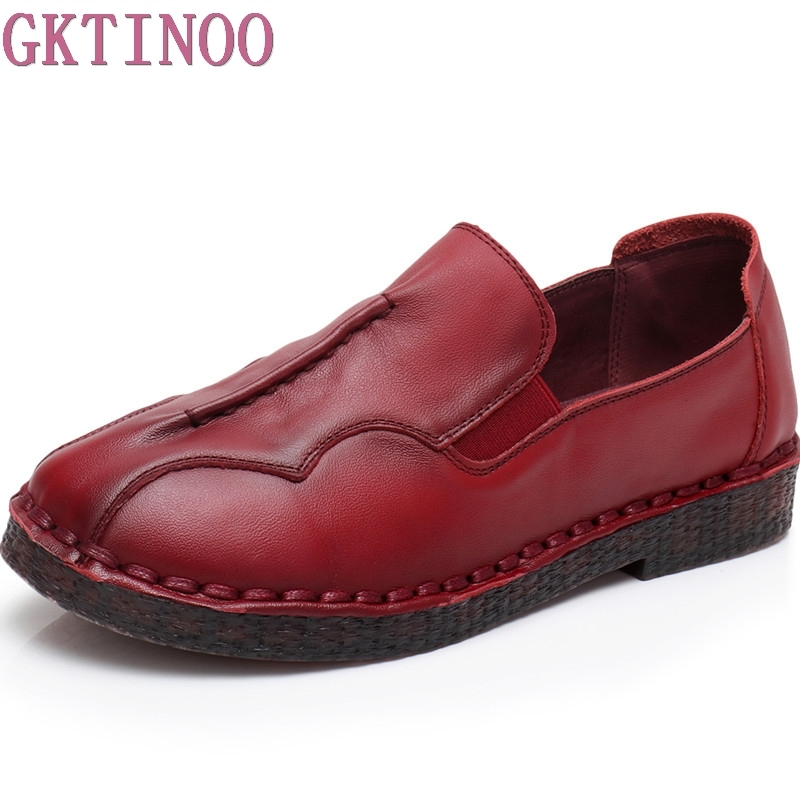 GKTINOO Spring Autumn Genuine Leather Flat Shoes Genuine Leather Soft Flats Loafers Female Solid Comfortable Casual Women Shoes muyang new 2017 women shoes genuine leather flats round toe bowtie soft comfortable flat shoes spring autumn casual female shoes