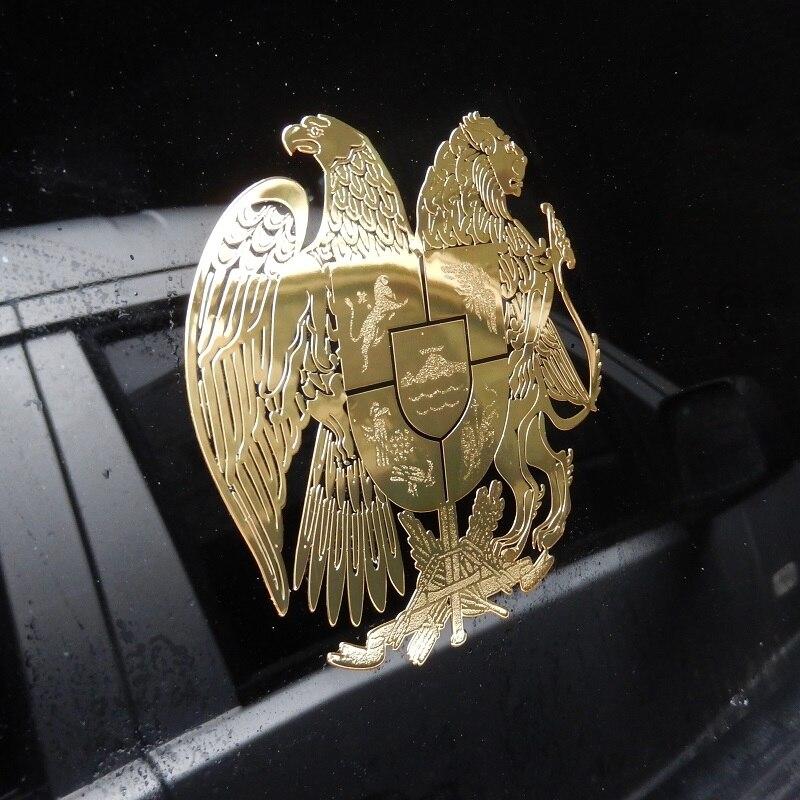 95x95 мм Металлостикер герб Армении на авто кузов машины гора Арарат армянский лев орел щит стикер на стекло автомобиля