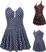 NWT Sexy One Piece V-Neck Swimwear Sweety Dotted/Cherry Print Dress Swimsuit Halter Skirt Bathing suit Plus Size M~4XL