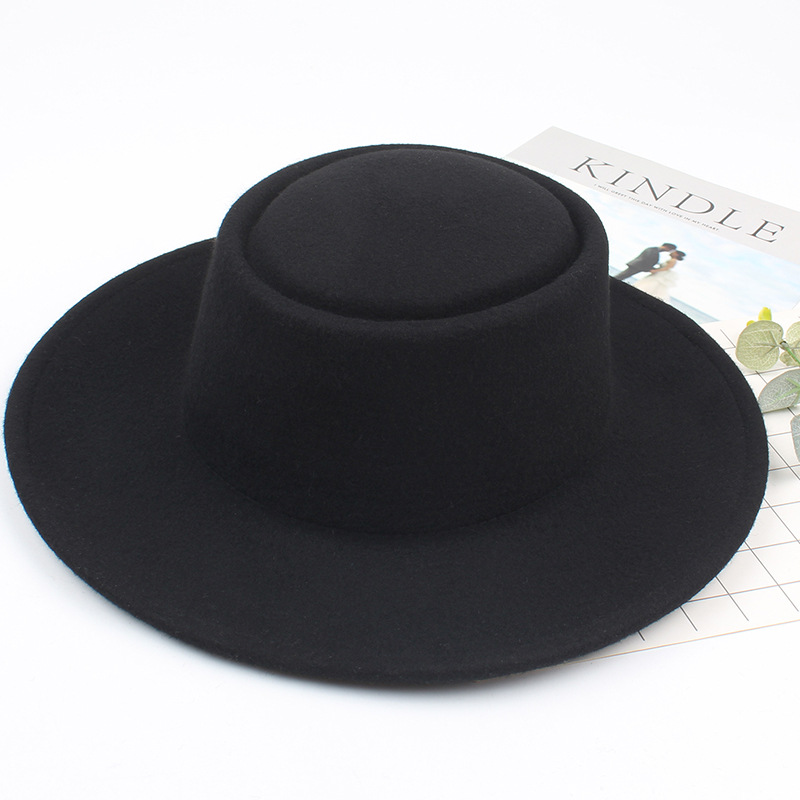 01808-2018070002 % wool Concave head flat lady winter Fedoras cap men women panama wool hat