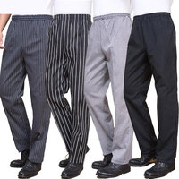 Spring And Summer Food Service Free Shipping Autumn Cook Pants Work Pants Checked Striped Chef Pants