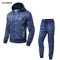 Aolamegs Men Hoodies Fashion Casual Tracksuits 2017 Spring New Outdoors Hooded Sweatshirts Hoodie Set Jacket and Pants Plus Size