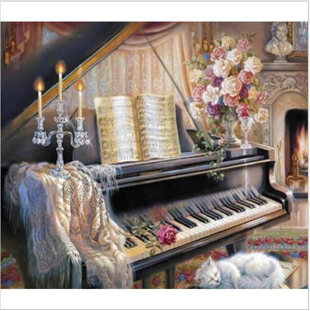 רקמת יהלומי תפר צלב ציור 5D יהלומים מלאכותיים DIY מלאכת שרף פסנתר שחור לבן חתול בית תפאורה מחט אומנויות & מלאכות