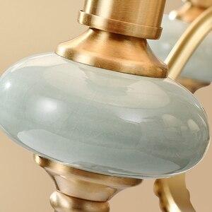 Image 5 - Модные потолочные люстры для гостиной керамические люстры с абажуром на кухню люстра потолочная с фарфорой подвесные светильники для спальни латунные люстры потолочные