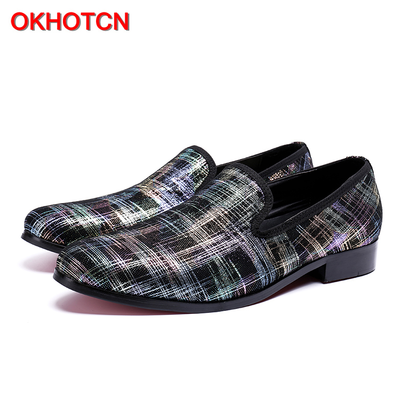 OKHOTCN Fashion gingham Men Loafers genuine leather Casual Shoes party Wedding Dress Men's Flats daily comfortable leisure shoes okhotcn fashion gingham men loafers genuine leather casual shoes party wedding dress men s flats daily comfortable leisure shoes