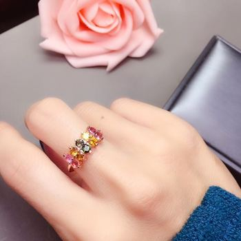 Natural real tourmaline ring Free shipping 925 sterling silver Handworked rings For men or women