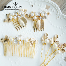 HIMSTORY 6pcs Set Wedding Bridal Princess Crystal Rhinestone Gold Diamante Leaf Flower Pearl Hair Pins Clips Grips Hair Comb