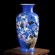 Modern Jingdezhen Ceramics Enamel Porcelain Vase Hand-painted Magpie On Plum Tree Design Vase Flower Vase For Sitting Room