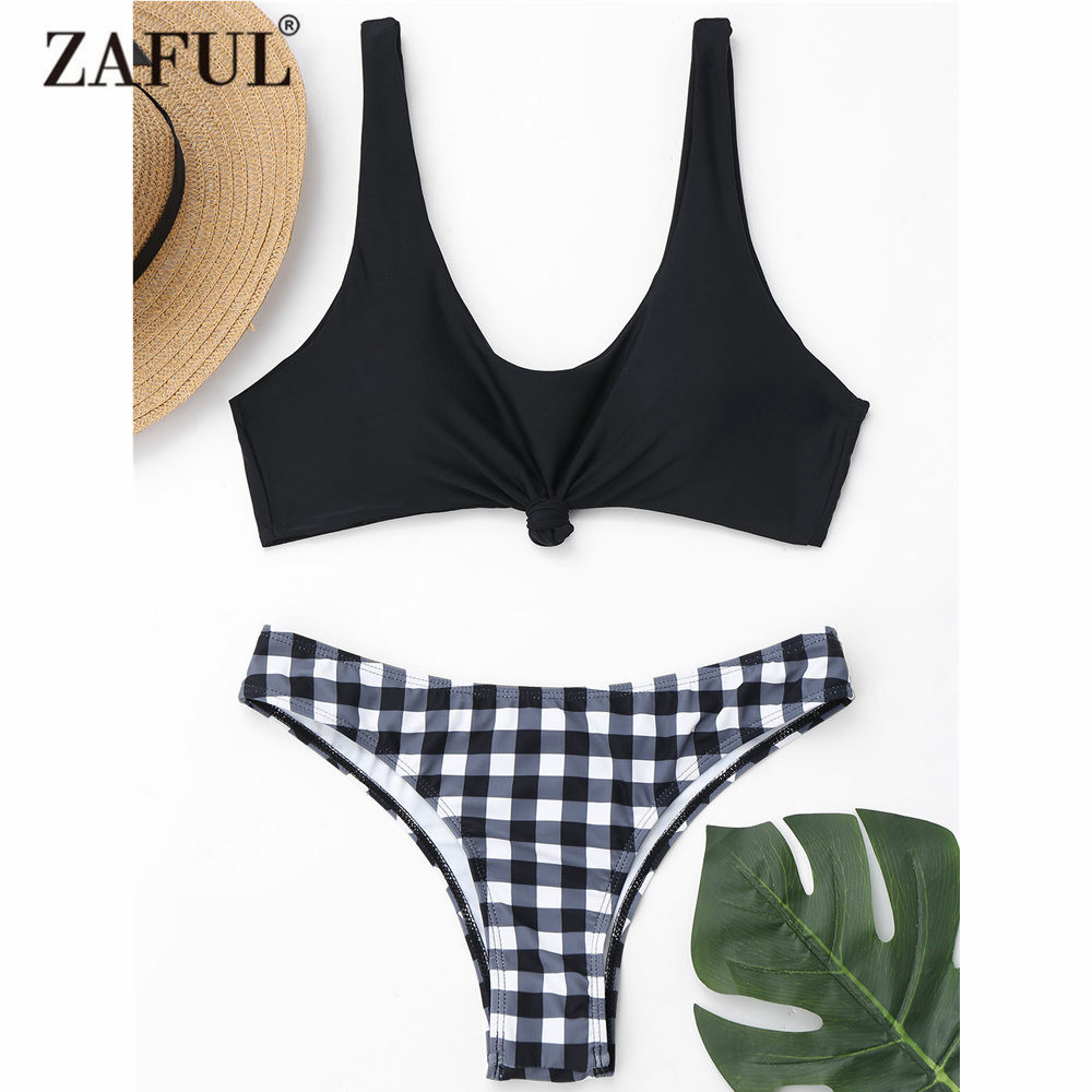 ZAFUL Bikini New Knotted Bikini Top and Plaid Bottoms Sexy Scoop Neck Brazilian Bikini Swimsuit Women Swimwear Biquni army green sexy scoop neck bikini top