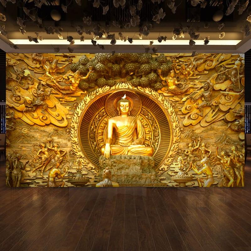Bacaz 3d Papel Murals Gloden Buddha 3D Photo Murals Wall paper for Background Religion 3d wallpaper Wall Murals Large Murals