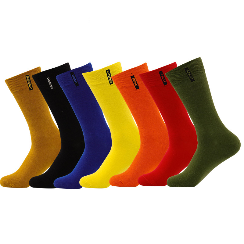 Hot Sale Brand Socks High Quality Fashion Cotton Men Socks Meia Happy Week Socks Harajuku Winter Warm Crew Socks Men 7 Color