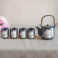 Set of Japanese Ceramic Cute Cat Tea Pot Tea Cup Water Cup Maneki Neko Design Porcelain Kettle Teaware Set (4 cups+1 teapot)
