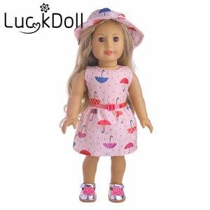 Vestido LUCKDOLL estampado sombrero y pretina ajuste 18 pulgadas americano 43cm Accesorios de ropa para muñeca, juguetes para niñas, generación, regalo de cumpleaños
