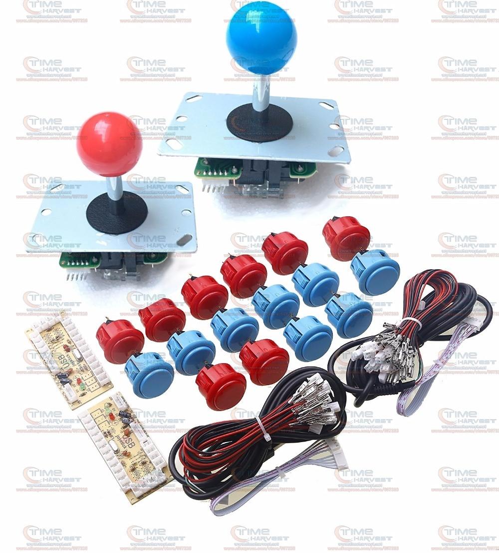 Arcade parts Bundles kit With Original Sanwa button 1 player Zero Delay USB Encoder 5 pin 8 way Joystick Build Up Arcade Console