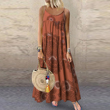 Summer Women Plus Size Spaghetti Straps Dress Boho Ladies Casual Loose Sleeveless Floral Print Long Maxi Dress vestidos 2019 New