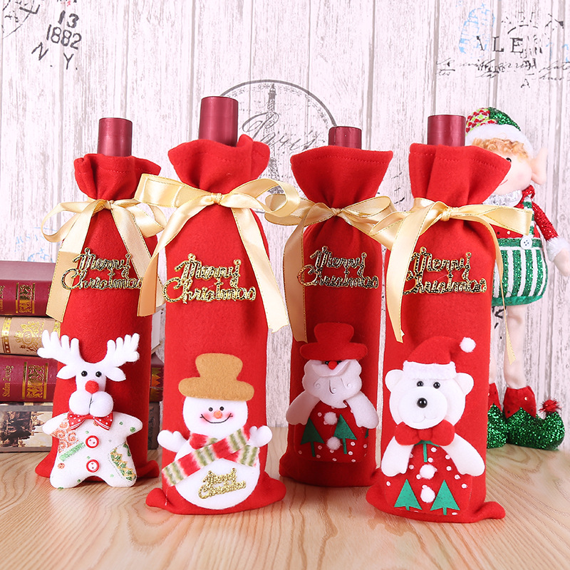 Wine Bottle Covers Christmas Dinner Table Decoration Santa Clause Elk Bear Snowman Wine Bottle Bags Christmas Decor For Home