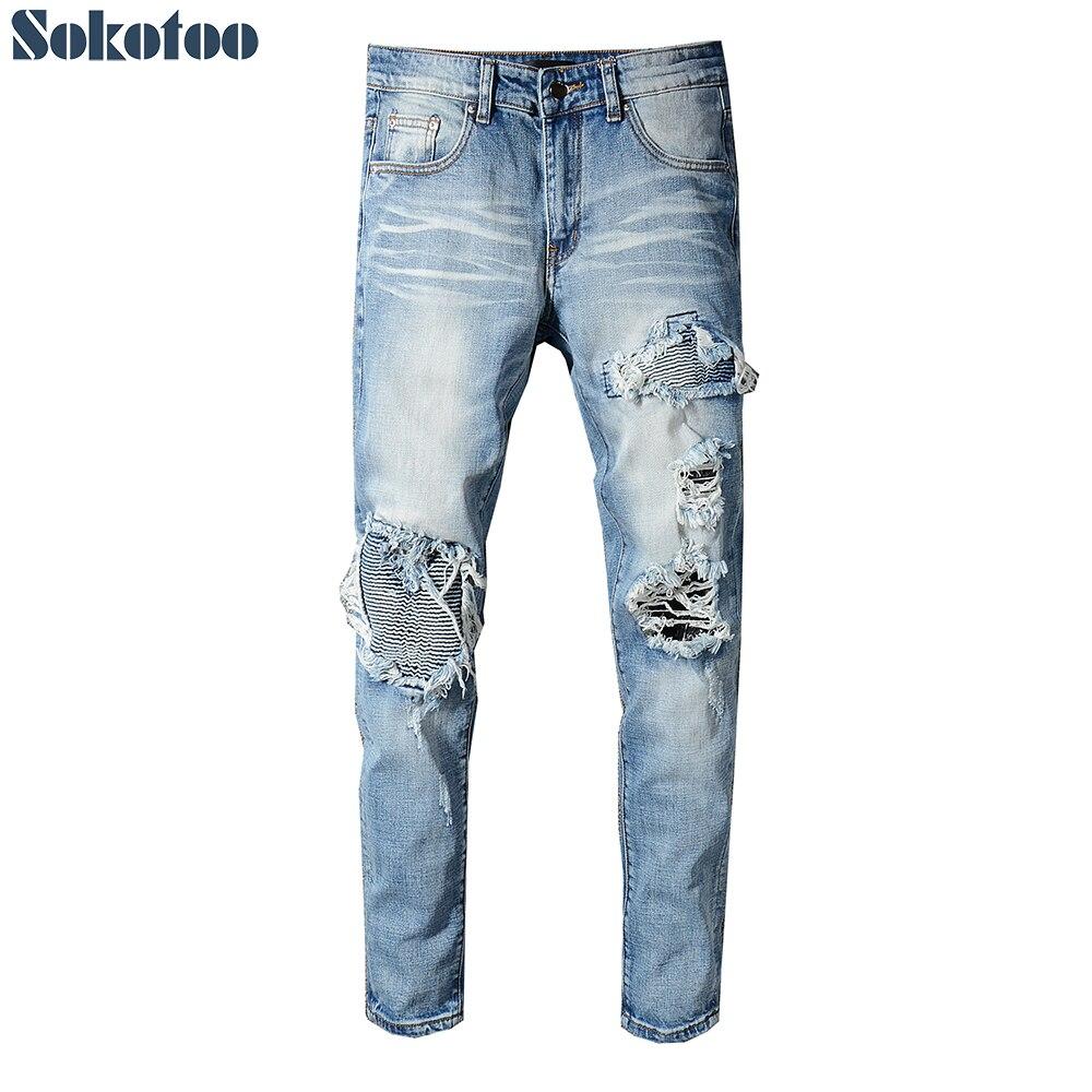 Sokotoo Men's ligjt blue pleated patchwork biker   jeans   for motorcycle Slim skinny stretch denim pants