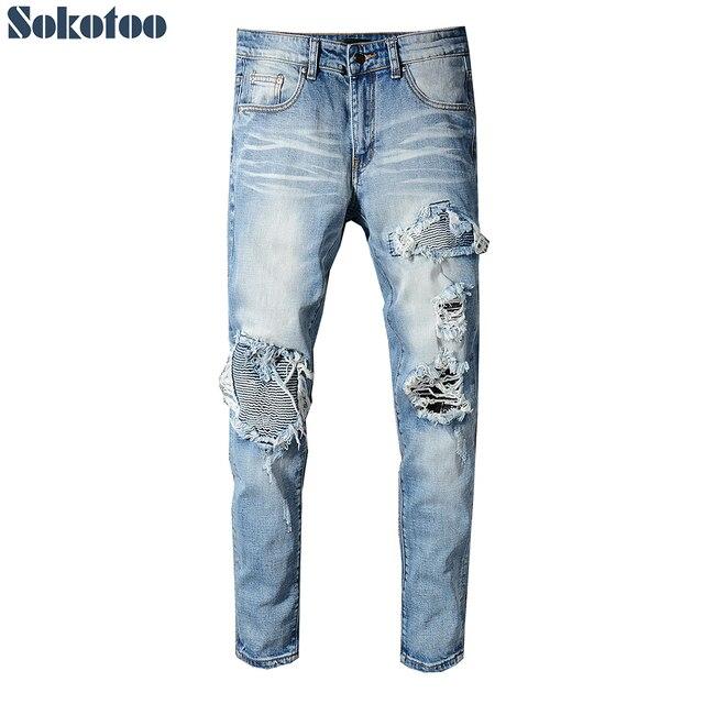 Sokotoo мужские ligjt синие плиссированные Лоскутные байкерские джинсы для мотоцикла тонкие обтягивающие Стрейчевые джинсовые брюки