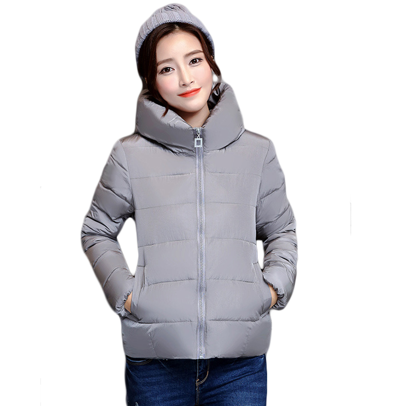 New 2017 Solid Color Hooded Winter Women Basic Jacket Cotton-padded Casaco Feminino Women Slim Short Outwear Female Coat CM1660 new 2017 solid color hooded winter women basic jacket cotton padded casaco feminino women slim short outwear female coat cm1660