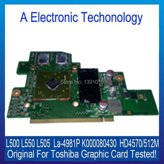 Placa gráfica para toshiba l500 l550 l505 original la-4981p k000080430 hd4570 512 m placa de vídeo placa de vídeo testado trabalho