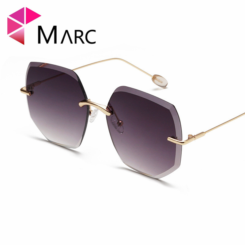 MARC New 2019 Women Sunglasses Rimless Gafas sol de Female Metal Oculos Fashion Gradient Lens Eyewear Shield Unregular Frame 1 in Women 39 s Sunglasses from Apparel Accessories