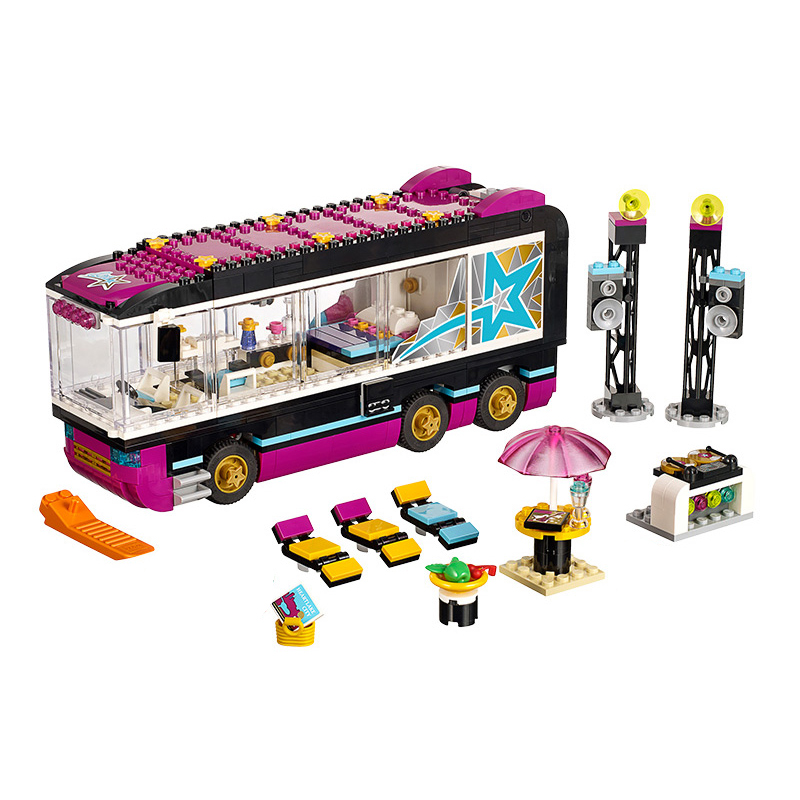 Compatible with Lego Friends 41106 Bela 10407 684pcs Pop Star Tour Bus Figure building blocks Bricks toys for children конструктор lego friends кондитерская стефани 41308