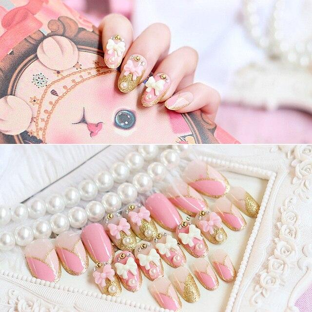 Кольцо 24 шт./компл. розовый белый лук блеск жемчуг, горный хрусталь цепи смолы Дизайн ногтей Ложные Типсы Наклейки с трубкой клея
