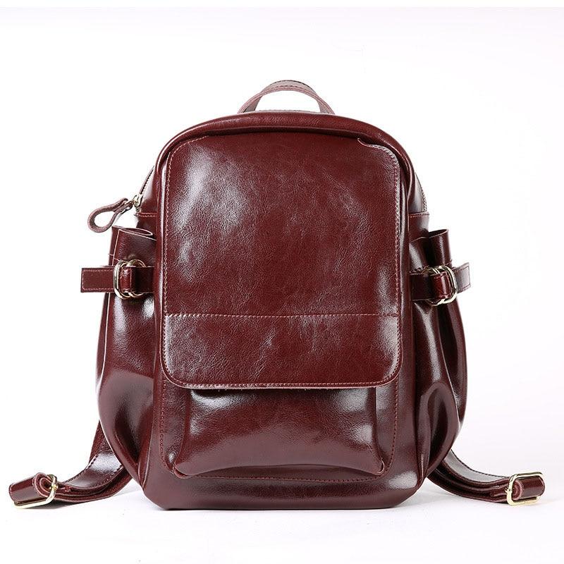 2019 Vintage Classic Oil Wax Cowhide Real leather Women s Backpacks Female Genuine Leather Ladies Backpack