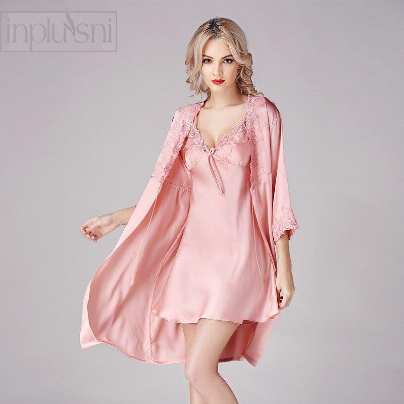 Besorgt Inplusni Frauen Silk Robe Kleid Sets Neue Ankunft 100% Seide Nachtwäsche Zwei-stück Outfit Seide Kleid Bademantel Mode Frauen Nachtwäsche
