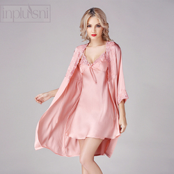 Inplusni women silk robe gown sets new arrival 100% silk nightwear two-piece outfit silk gown bathrobe fashion women sleepwear