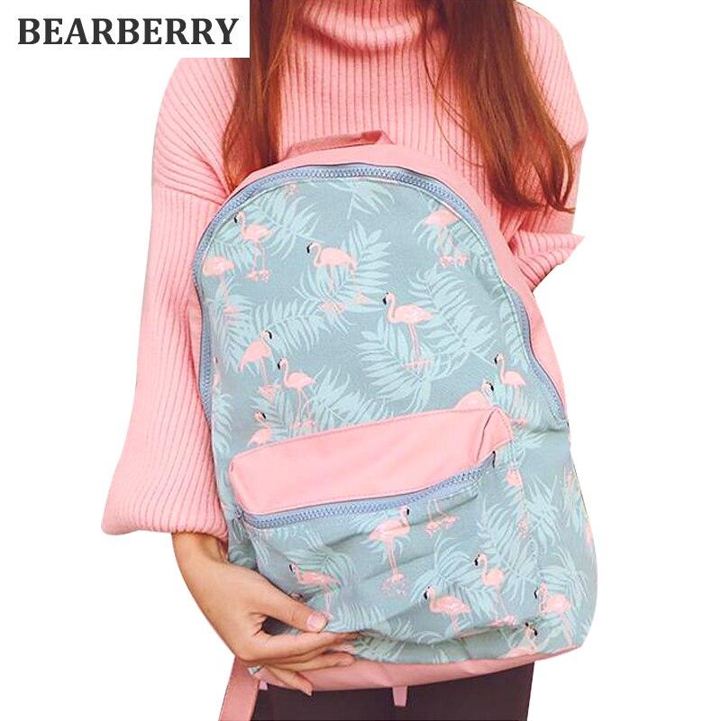 BEARBERRY 2017 Pink Flamingo Women Waterproof Backpack for School Teenage Girls Light Travel Storage Bag Portable