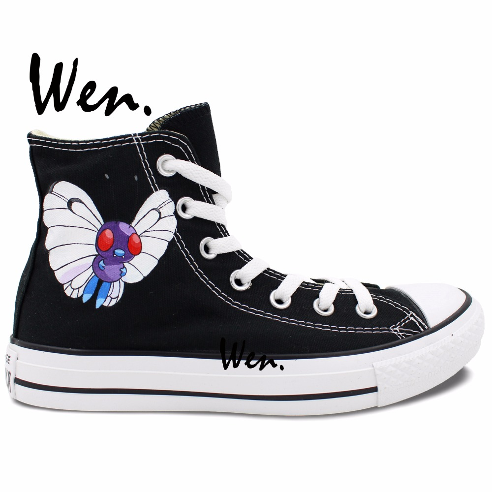 ФОТО Wen Hand Painted Anime Shoes Design Custom Butterfly Pocket Monster Pokemon Butterfree Men Women's High Top Canvas Sneakers