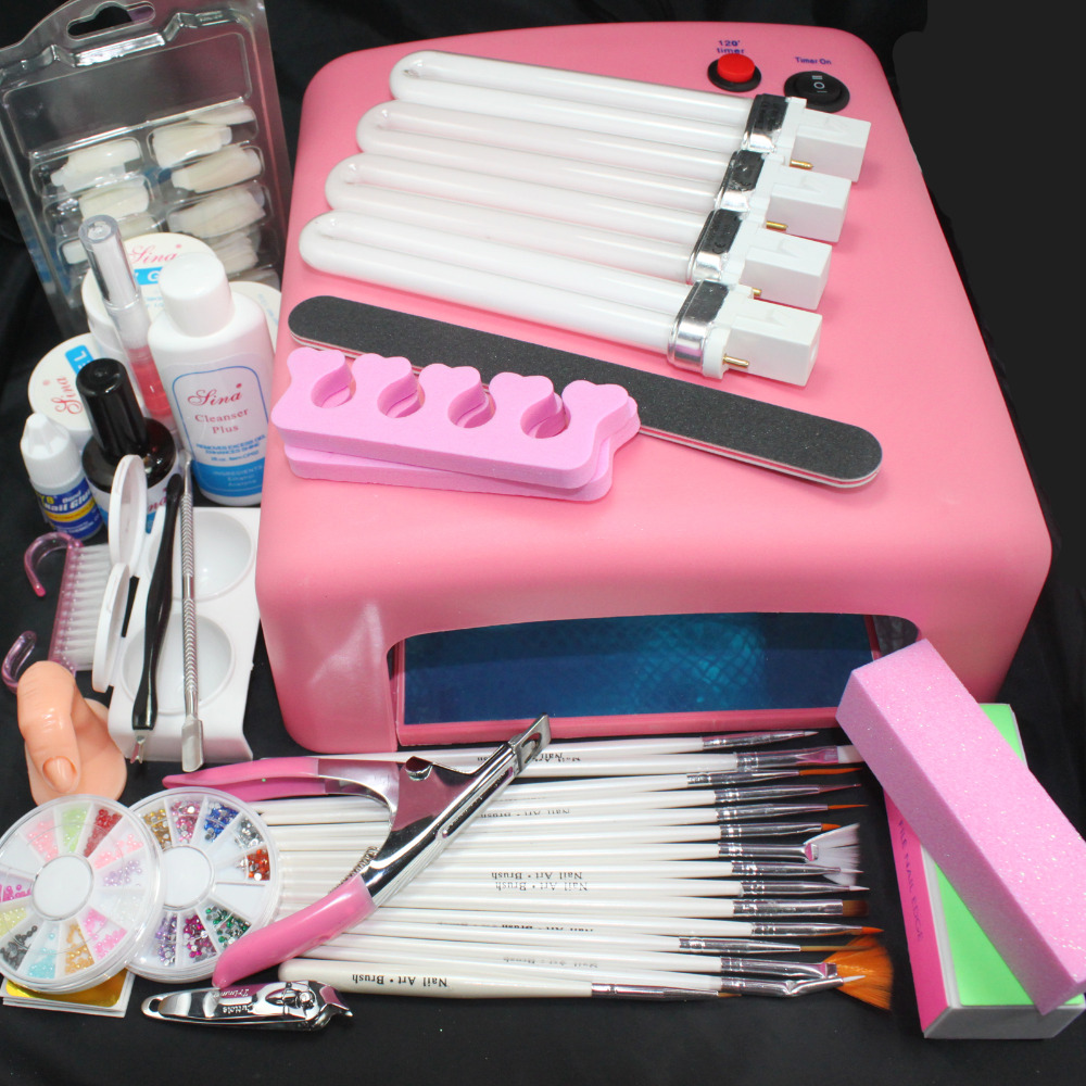 Pro 36 W UV GEL rose lampe & 15 brosse 100 pièces ongles conseils Nail Art outils Kits #24