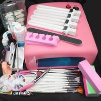 Pro 36W UV GEL Pink Lamp & 15 Brush 100pcs Nail Tips UV Gel Cuticle oil Cleanser plus Side Clipper Nail Glue Nail Art Kits #24