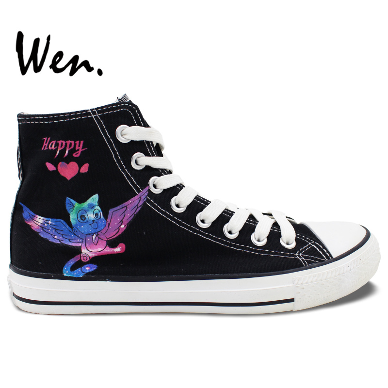 ФОТО Wen Black Anime Hand Painted Shoes Design Custom Fairy Tail Happy Cat Men Women's High Top Canvas Sneakers for Gifts
