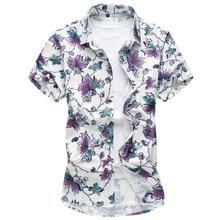 купить Men Shirt Summer Thin Section Fashion Short Sleeve Hawaiian Floral Shirt Large Size 5XL 6XL 7XL Printed Male Casual Shirt онлайн