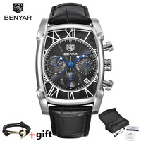 BENYAR Top Brand Luxury Men S Watch Mens Waterproof Leather Rectangle Gold Quartz Wrist Watch Gold