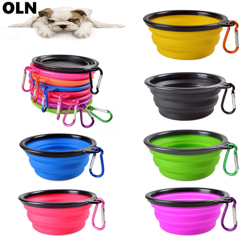 Pet Silica Gel Bowl Dog Cat Collapsible Silicone Dow Bowl Candy Color Outdoor Travel Portable Puppy Food Container Feeder Dish(China)